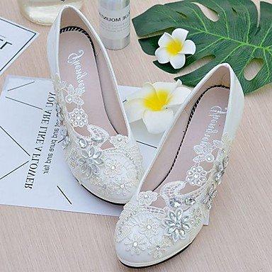 Blanca amp;Amp; Shoes Wedding CN39 Noche Imitación EU39 Las Applique Polipiel Cn39 Uk6 Brillante Dressrhinestone Slingback UK6 US8 Lace Ue39 Us8 Boda Perla Mujeres'S Otoño RTRY Primavera 4xavt