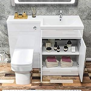 ELEGANT 1100mm L Shape Bathroom Vanity Sink Unit Furniture Storage,Right Hand High Gloss White Vanity unit + Basin + Ceramic Square Toilet with Concealed Cistern