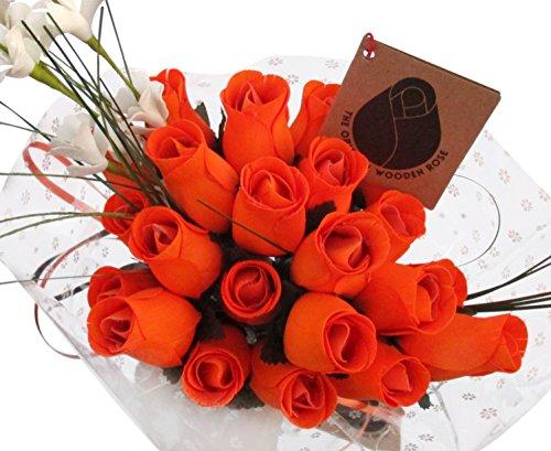 - The Original Wooden Rose Halloween All Orange Flower Bouquet Closed Bud (2 Dozen)