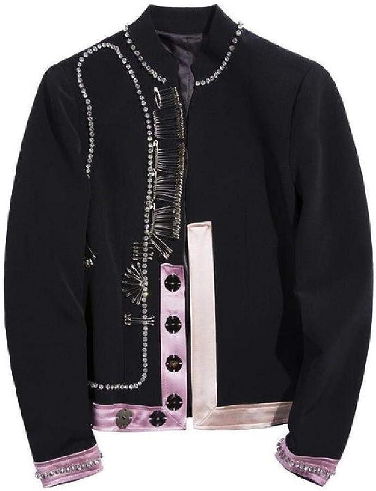 Blazer de Mujer Cuello Alto Manga Larga Señoras Blazer Negro Abrigo Satén Costura Pin Diamante Irregular Chaqueta de Traje de Mujer
