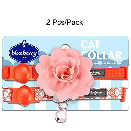 Blueberry-Pet-8-Designs-Pack-of-2-Cat-Collars-The-Power-of-All-in-One-Perfect-Orange-Adjustable-Breakaway-Cat-Collar-with-Bell-Detachable-Flower-Neck-9-13