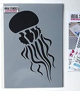 Jellyfish Stencil Nautical Under Sea Creatures Aquatic Wall Decor Paint Walls Fabric Furniture Reusable Ideal Stencils Ltd L 35x54cm Home Improvement Amazon Com