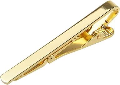 Vintage Metal Simple Necktie Silver Black Gold Tone Tie Pin Bar Clasp Clip
