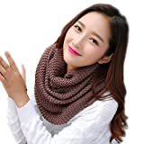 Thick Ribbed Knit Winter Infinity Scarf Fashion Circle Loop Scarves (coffee)