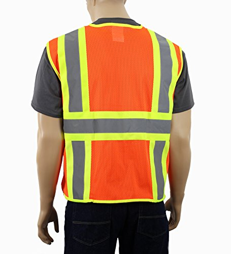 Safety Depot Class 2 ANSI Approved Safety Vest Breathable Mesh, 4 Lower Pockets, 2 Chest Pockets with Pen Divider & High Visibility Reflective Tape M7038 (Large, Mesh Orange) by Safety Depot (Image #1)
