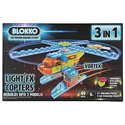 Blokko LED Light Up Copters Kit. Instructions for 3 Different Helicopters Included: Toys & Games