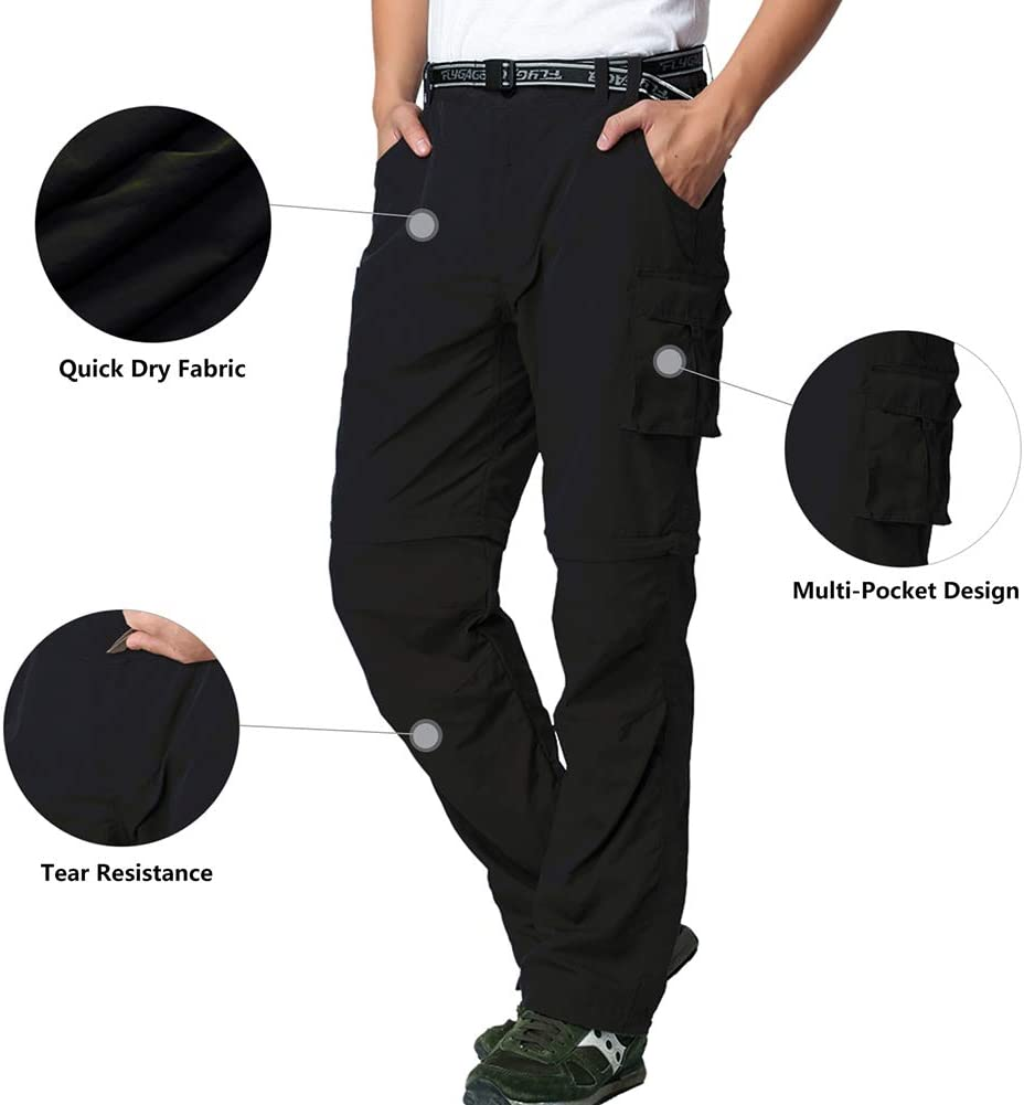 FLYGAGA Mens Convertible Trousers Hiking Trousers Cargo Pants Outdoor Adventure Lightweight Quick Dry Zip Off