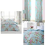 Catherine Lansfield Canterbury King Duvet Set with Home Canterbury Floral Pencil Pleat Lined Curtains, Multi, 66 x 72 Inch and Canterbury Bedspread 240 X 260