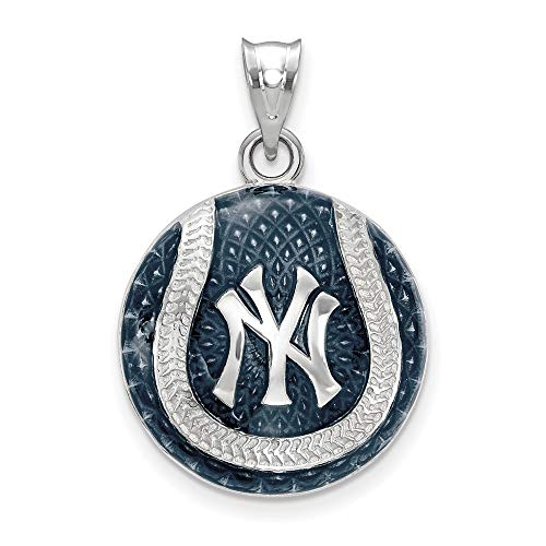 MLB New York Yankees Sterling Silver MLB LogoArt New York Yankees Logo Enl Baseball Pendant Size One Size - Logo Pendant 14kt Gold Jewelry