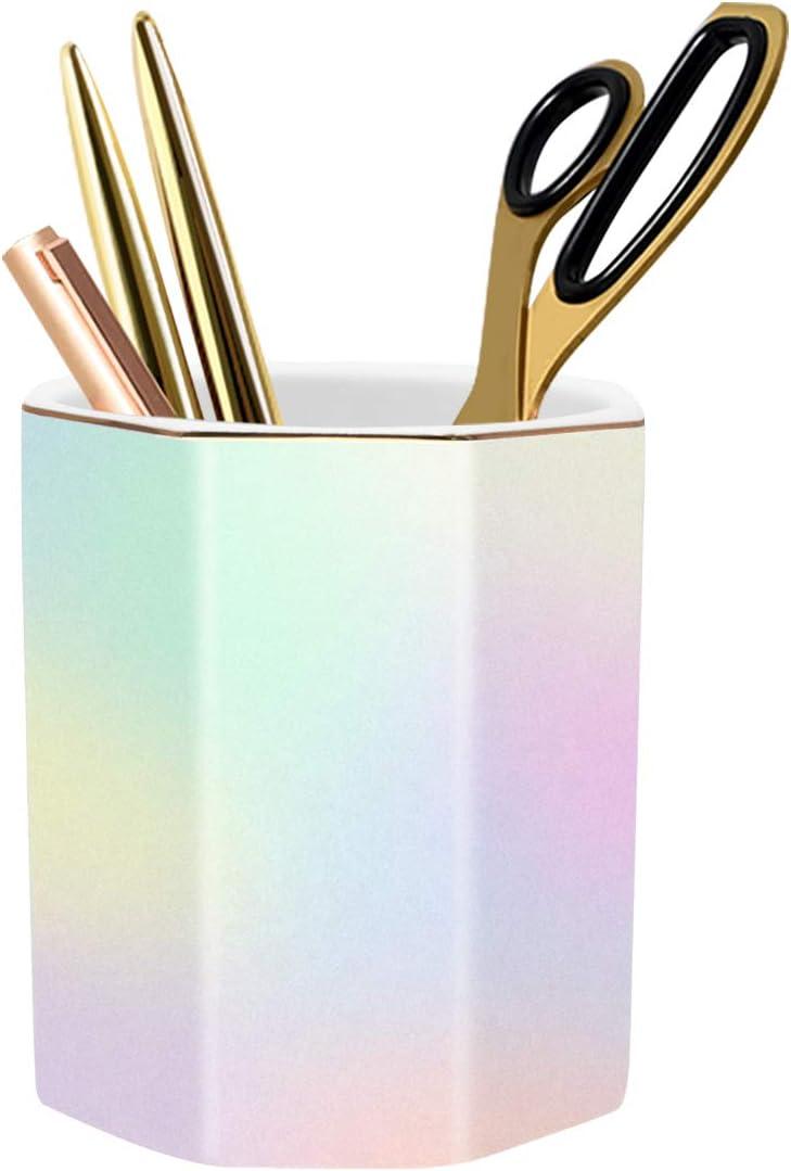 WAVEYU Cute Desk Decor, Pen Holder for Desk, Pencil Cup Holder Desktop Stationery Makeup Brush Organizer for Girls Durable Ceramic Desk Organizer Ideal Gift for Office, Classroom, Room, Colorful
