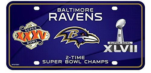 Stockdale Baltimore Ravens 2X Super Bowl Champions Aluminum License Plate Tag Football