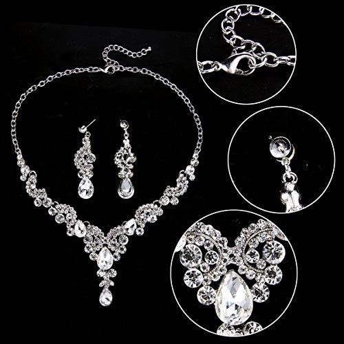 EVER FAITH Austrian Crystal Bridal Floral Wave Teardrop Necklace Earrings Set 5