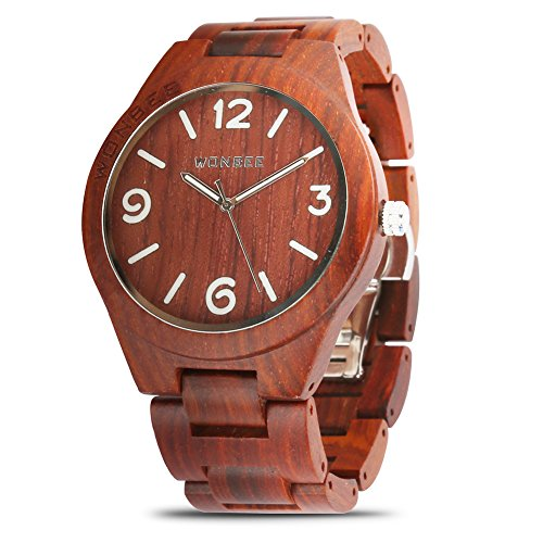 WONBEE Wooden Watch for Men/Women-Handmade Wood Watches-Wood Watchband-Wood Bezel-Luminous Display-Red Sandalwood-ARABTOON Series