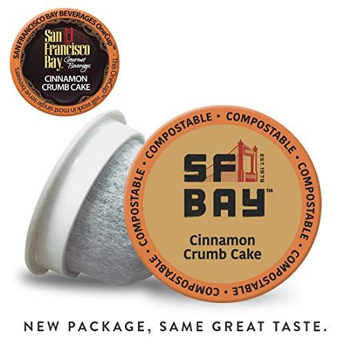 SF Bay Coffee Cinnamon Crumb Cake 80 Ct Flavored Medium Roast Compostable Coffee Pods, K Cup Compatible including Keurig 2.0 (Packaging May Vary) (Cinnamon Keurig Cups K)