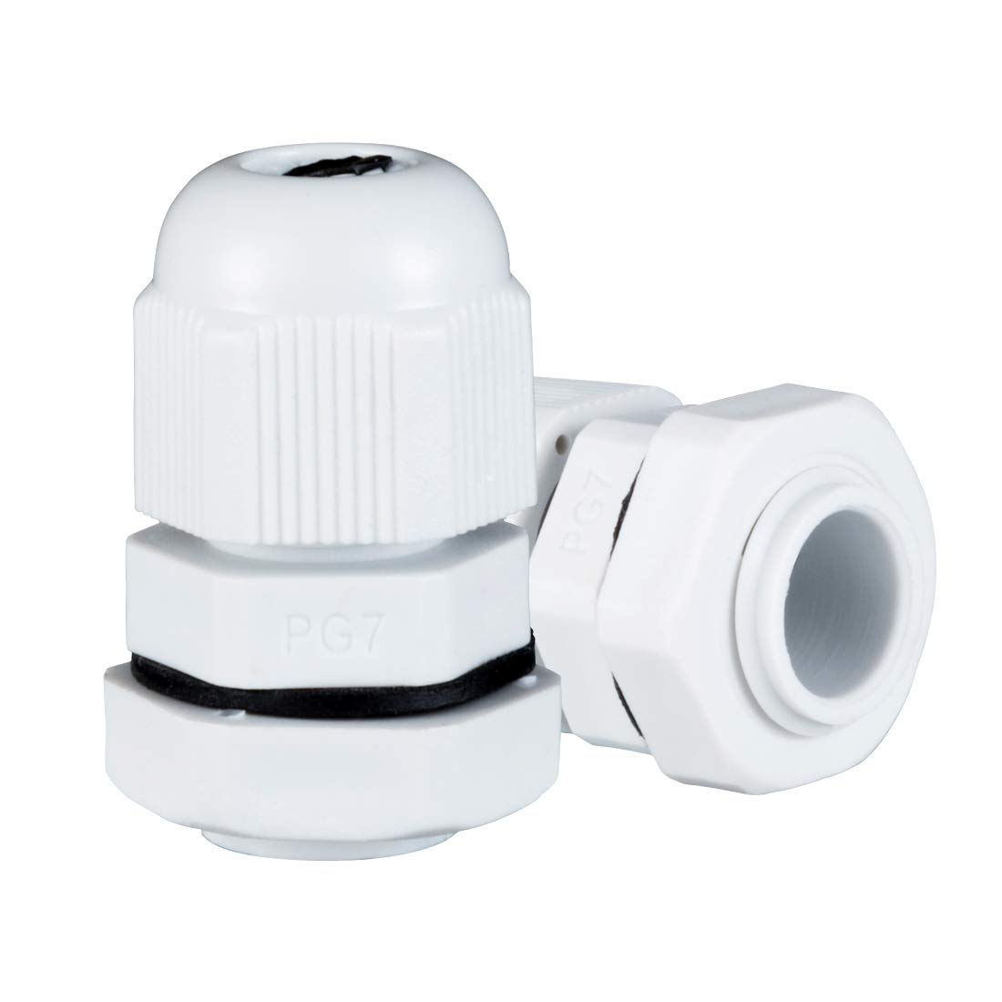 uxcell 10 Pcs PG7 Waterproof Nylon Cable Gland Joint Adjustable Connector for 3mm 6.5mm Dia Cable Wire