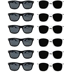 White Black Wayfarer Sunglasses Bulk Wholesale Party Pack-48-24 White 24 Black Premium Quality Plastic-Wholesale Bulk Kids Adults Women Men from TheGag