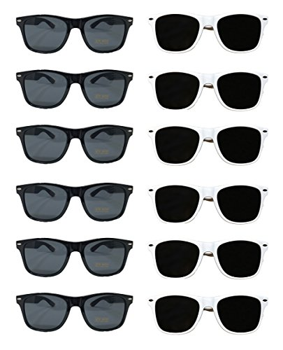 White Black Wedding Party Sunglasses (48) Bulk Sunglasses Wholesale Party Pack 24 White 24 Black Wayfarer Premium Quality Plastic-Wholesale Bulk Adults Women Men]()