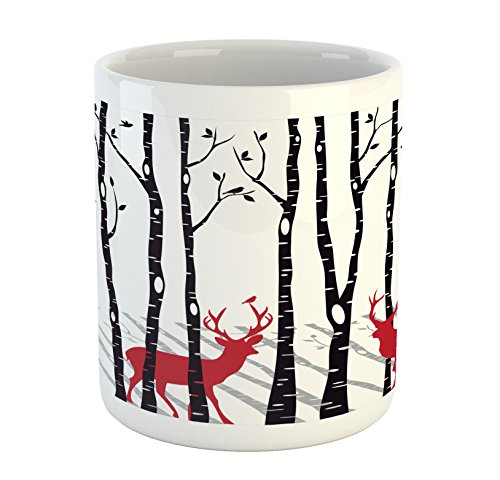 Ambesonne Antlers Mug, Deer Tree Forest with Red Holiday Theme Flying Leaves Branch Reindeer, Ceramic Coffee Mug Cup for Water Tea Drinks, Red Black Grey White