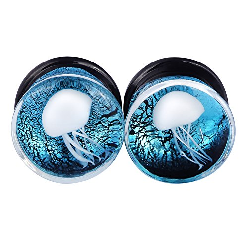 Lianrun 1Pair White Jellyfish Light Blue Glass Ear Plugs Expander Tunnels Piercing Gauge 00g