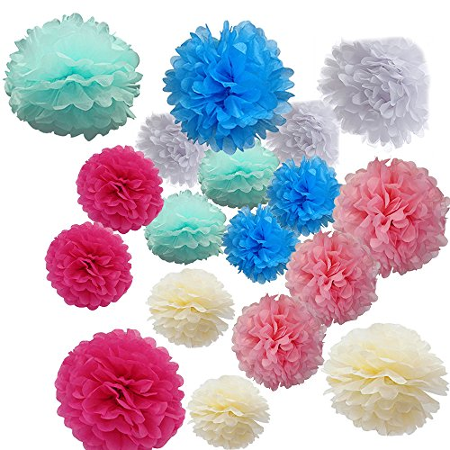 Cideros 18pcs DIY Craft Tissue Hanging Paper Pom-poms Flowers Ball Kit for Christmas Party Wedding Home Outdoor Decoration,10