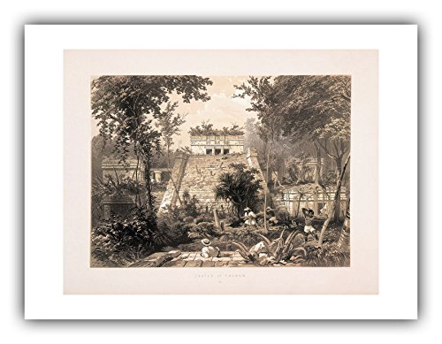 The Ibis Print Gallery - Frederick Catherwood : ''Castle at Tuloom (Plate 23)'' (Views of Ancient Monuments in Central America, Chiapas and Yucatan, 1844) - Giclee Fine Art Print