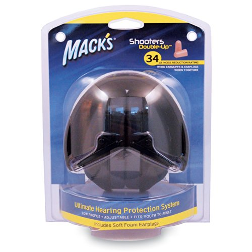 Mack's Shooters Double-Up Earmuffs with Earplugs, Black
