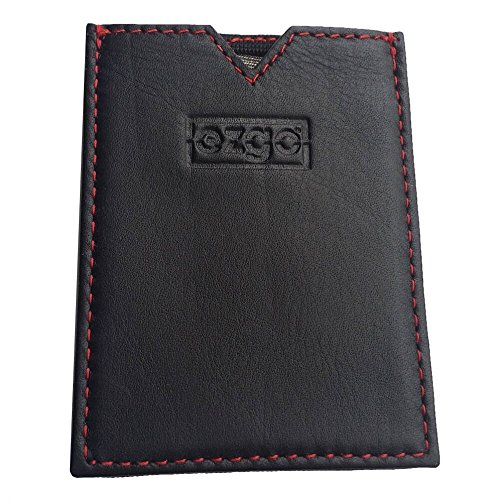 EZGO Wallet: Super Slim, Top Grain Leather, Lightweight, RFID Blocking, Hand Made, Easy to Use, Card Pocket, Cash/Receipts Pocket with Suede Liner - Black w/ Red Stitching - Slim 2.0