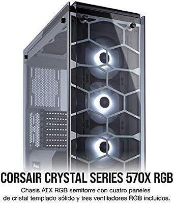 Corsair Crystal 570X RGB - Caja de PC, Mid-Tower ATX, ventana lateral cristal templado con ventilador, iluminación ...