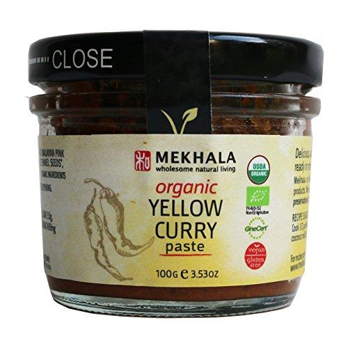 Mekhala Organic Gluten Free Thai Yellow Curry Paste with Turmeric 3.53oz (Coconut Mild Sauce)