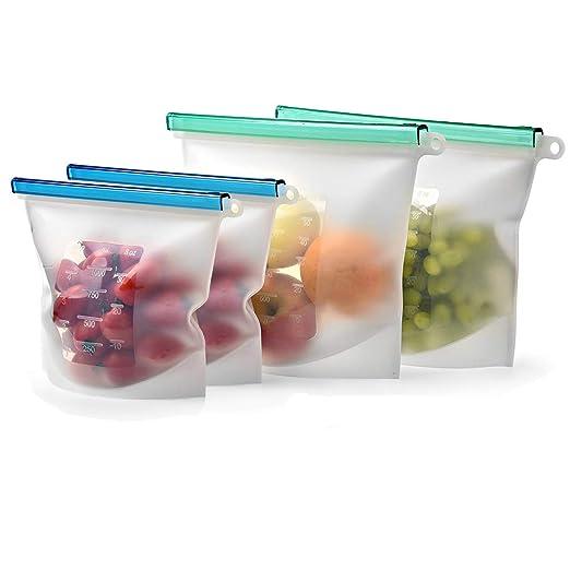 Juego de 4 bolsas de silicona reutilizables para ...
