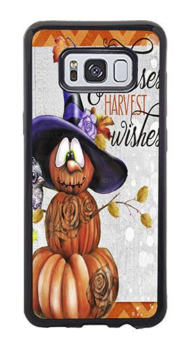 AOFFLY Case for Samsung Galaxy S8 Plus Only - Sheena Pike Art And Illustration - Pumpkin Kisses & Harvest Wishes Jack O Man 2 - Color - Shock Absorption Protection Phone Cover Case