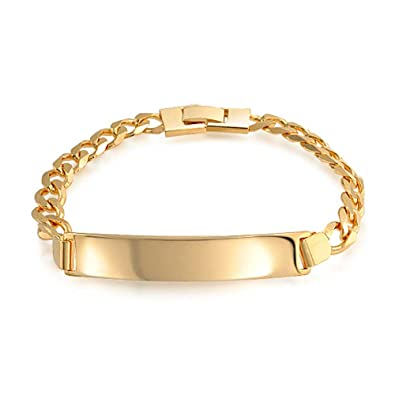 457c97a6c1d3e Bling Jewelry Cuban Curb Link Engravable ID Identification Bracelet for Men  for Women 180 Gauge 18K Gold Plated Brass
