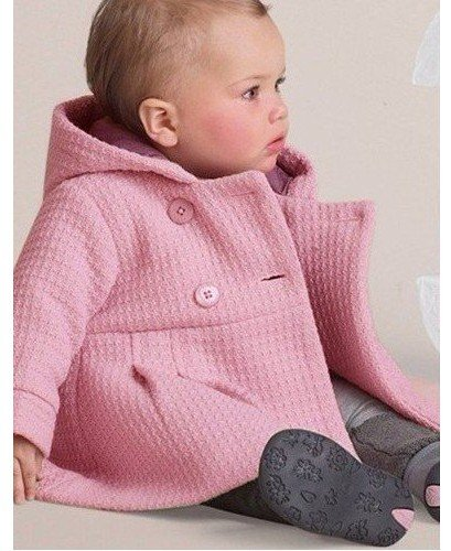 LSERVER Babay Girls Hooded Warm Wool Cotton Jacket Trench Coat Outwear Pink 80 by LSERVER (Image #4)