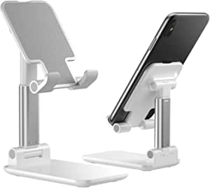 Cell Phone Stand, WORLDMOM Foldable Portable Desktop Stand Adjustable Height and Angle Phone Holder for Desk Sturdy Aluminum Metal Stand Compatible with Smartphone/iPad/Kindle/Tablet