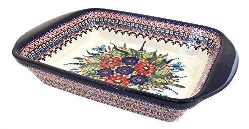 Polish Pottery Floral Butterfly Large Rectangular Baker by Zaklady
