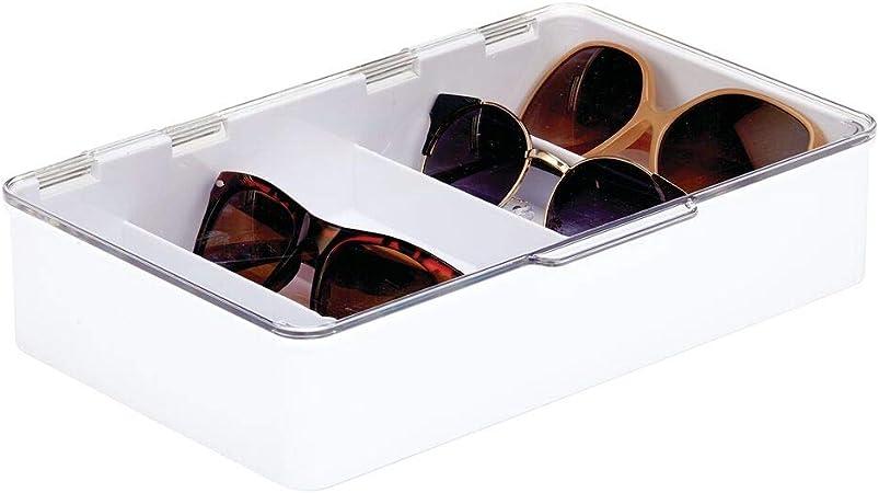 mDesign Cajas para gafas de sol – Clasificador de plástico con 5 compartimentos – Organizador de armarios para guardar todo tipo de gafas – blanco y transparente: Amazon.es: Hogar