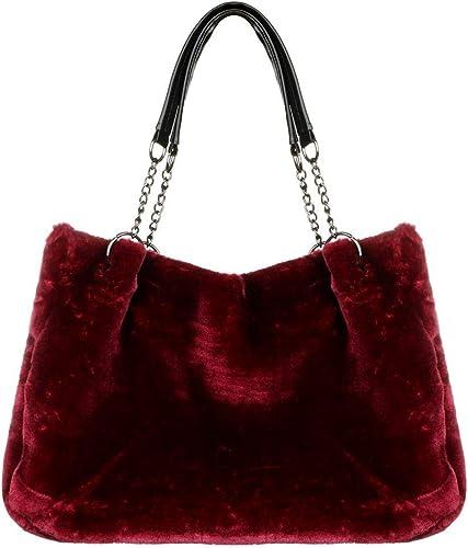 Women SOFT FLUFFY FAUX FUR Handbag Shoulder Tote Hobo Shopper Colour Block LARGE