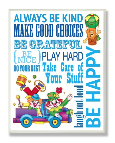 - The Kids Room by Stupell Green Be Happy Clown Typography Rectangle Wall Plaque
