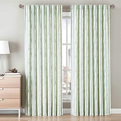 Painted Pocket - Be Artistic Ellis Painted Stripe 84' Rod Pocket/Back Tab Panel in Soft Green