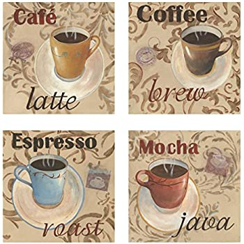 Classic Latte Espresso Mocha Coffee Decorative Prints; Kitchen Decor;  4 12X12 Paper Poster