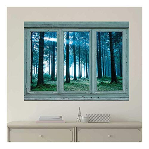 Vintage Teal Window Looking Out Into a Blue Foggy Forest Wall Mural