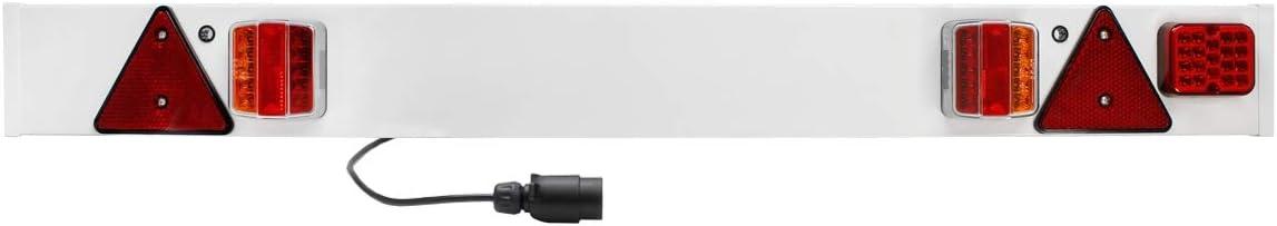 ECD Germany Barras de iluminación Trasera para Remolque - 137 x 14 cm - E4 Aprobado - 12V - Luces de Barra de luz - Advertencia Remolque de luz con Cable 6m - Universal aplicable