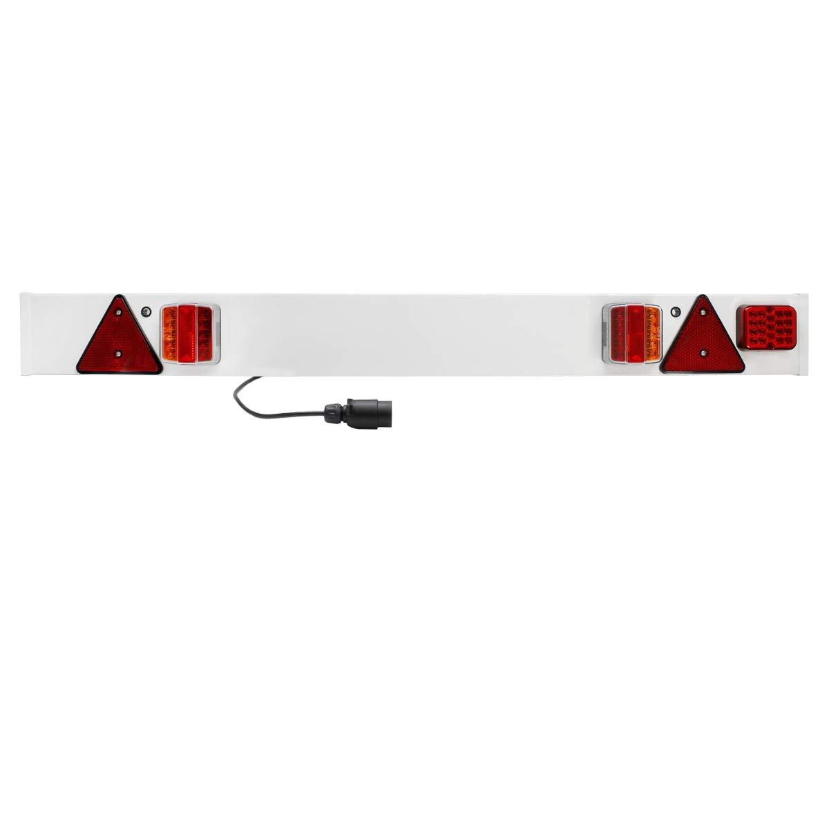 ECD-Germany Eclairage remorque 12V - Homologation E4-137 x 14 cm - câble de 6 m - Rampe éclairage LED - Barre Feux arrière