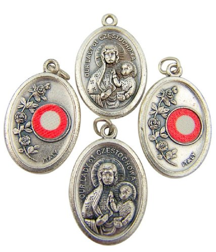 Lot of 4 Our Lady of Czestochowa 1 Inch Silver Tone Medal with 3rd Class ...