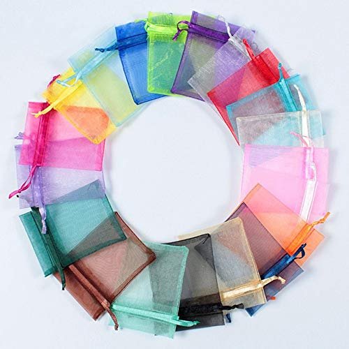 iLoving Organza Gift Bags, Jewelry Pouch Candy Bags 100 Pcs Mixed Color Organza Satin Drawstring Mini Party Wedding Favor Gift Bags, Organza Bags 3x4