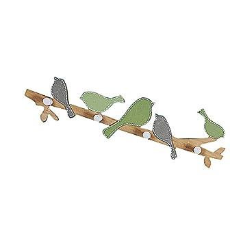 winomo - Perchero de pared con ganchos de madera pájaros ...