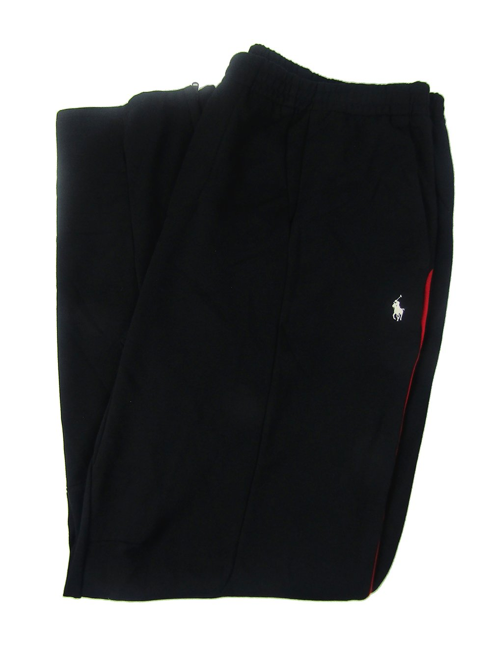 Polo Ralph Lauren Men's Big & Tall Double-Knit Track Pants (3LT, Black/Red)