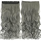 PrettyWit 18-20 Inch Long Instant One Piece Clip in on Hair Extensions 3/4 Full Head Curly Wavy Hairpiece for Women(Dark Grey 171)