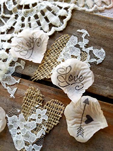 Rustic Burlap and Lace Wedding Confetti, Bridal Shower Decorations, Pale Peach]()