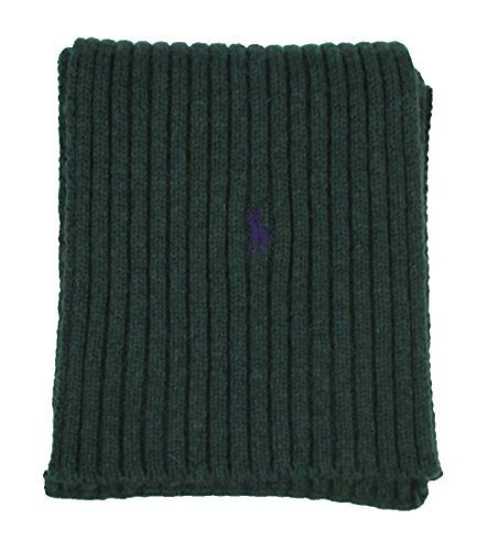 Polo Ralph Lauren Men Rib-Knit Pony Logo Wool Scarf (One size, Northwest green) (Wool Logo Scarf)